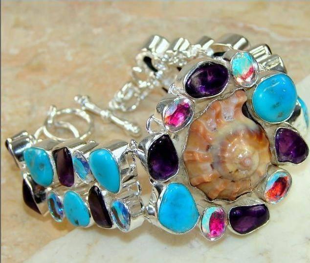 Bracelete de Prata 925 com Multigemas Naturais