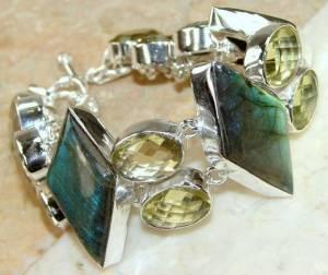 Bracelete de Prata 925 com Labradoritas Top Citrinos e Ametistas Verdes Naturais