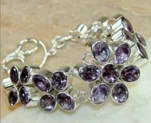 bracelete de flores de prata 925 com ametistas naturais
