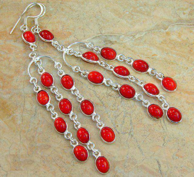Brincos de Prata 925 com Corais Vermelhos Naturais