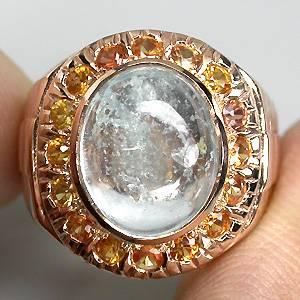 Anel de Ouro Rose 14 k Plated (Prata 925) com Água Marinha Top e Safiras Naturais