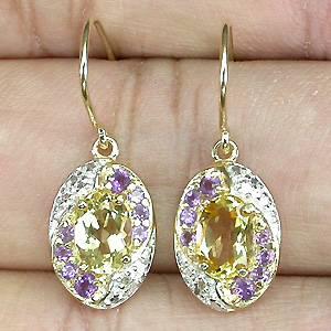 Brincos de Ouro 14k Plated (Prata 925) com Ametistas, Citrinos e Diamantes Naturais