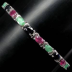 pulseira de prata 925 com rubis esmeraldas e safiras naturais