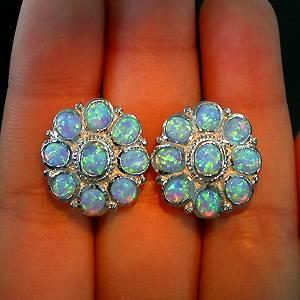 Brincos Florais de Prata 925 com Opalas de Fogo