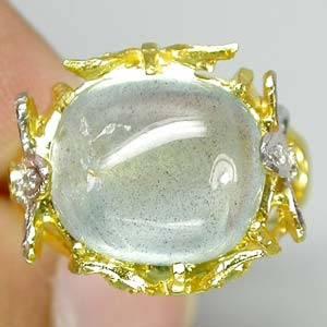 Anel de Ouro 14 k Plated (Prata 925) com Água Marinha e Peridotos Naturais e Zircônias Cúbicas