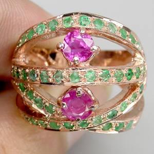 Anel de Ouro Rose 14 k Plated Prata 925 com Rubis e Esmeraldas Naturais