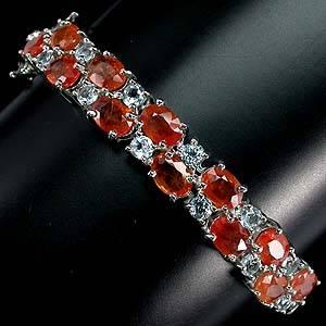 Bracelete de Ouro Branco 14K (Prata 925) com Safiras Padparadscha e Topázios Sky Blue