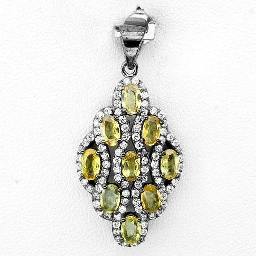 Pingente de Prata 925 com Safiras Amarelas Naturais e Zircônias Cúbicas