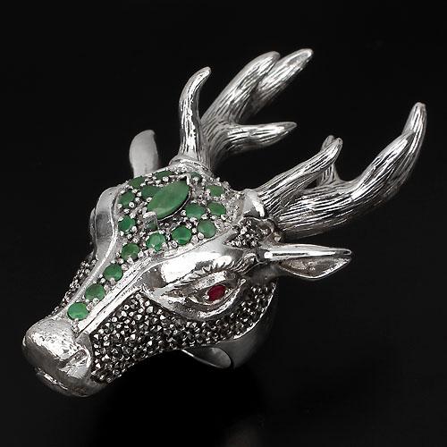 Anel de Prata 925 Cervo com Esmeraldas, Rubis e Marcassitas Naturais