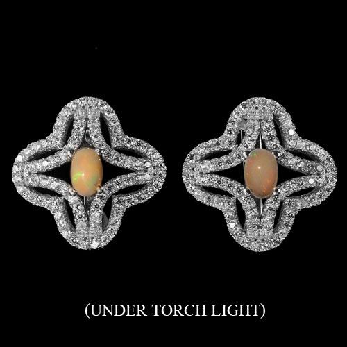 Brincos de Ouro Branco 14 k Plated Prata 925 com Opala de Fogo Natural e Zircônias Cúbicas