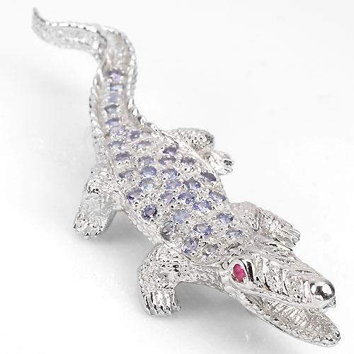 Broche de Ouro Plated Prata 925 Crocodilo com Rubis e Tanzanitas Naturais