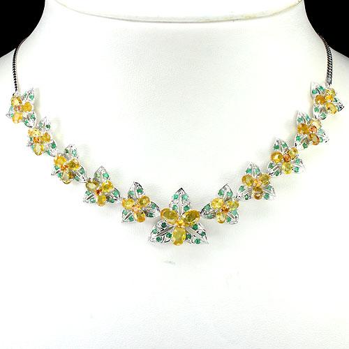 gargantilha de ouro branco 14k plated com esmeralda safira natural