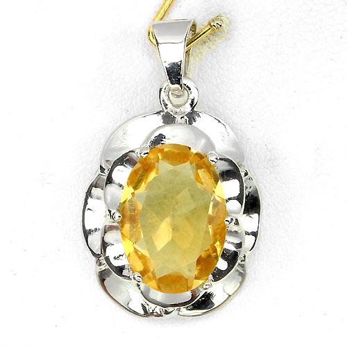Pingente de Ouro Branco 14 k Plated Prata 925 com Citrino Natural