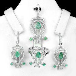 Conjunto de Ouro Branco 14k Plated com Emeraldas Naturais e Zircônias Cúbicas