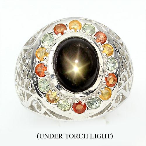 Anel de Ouro Branco 14 k Plated Prata 925 com Safiras Estrela e Coloridas Naturais
